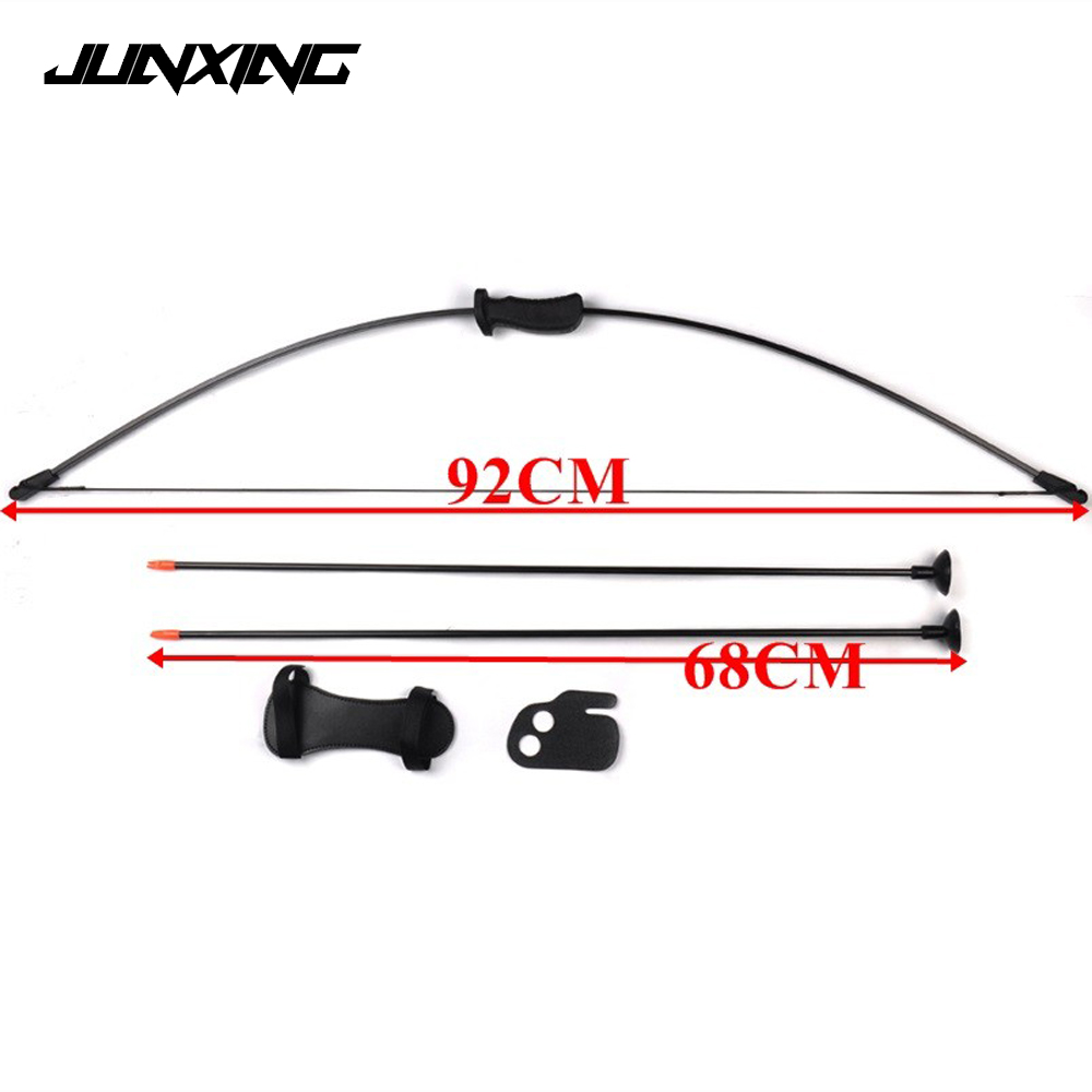 Traditional Bow Set Draw Weight 20 Lbs with 2 Chuck Arrows Finger and Arm Guard for Children Archery Training Toy Games