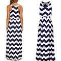 Office Dress for Women Sleeveless O-neck Blue White Water Wave Striped Ankle Length Long Maxi Vest  vestidos 2016 New Summer