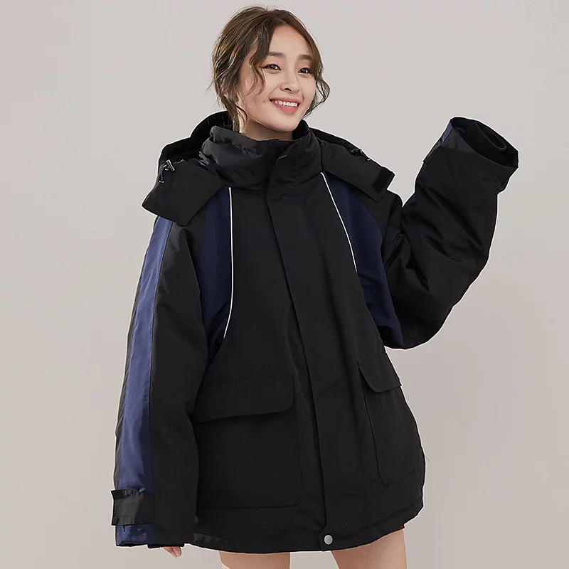 Oversized Winter 90% White Duck   Down   Jacket Women Hit Color Tied Waist Hooded   Down     Coats   2019 New Arrival Women's Winter Jacket