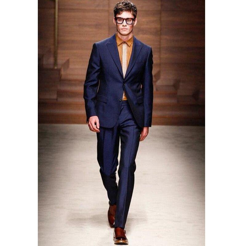 Trajes de boda azules para hombres trajes de esmoquin personalizados - Ropa de hombre