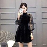 Women Sexy Vintage Gothic Girls Dresses Long Sleeve Velvet Black Dress A line Plain Party Vestidos