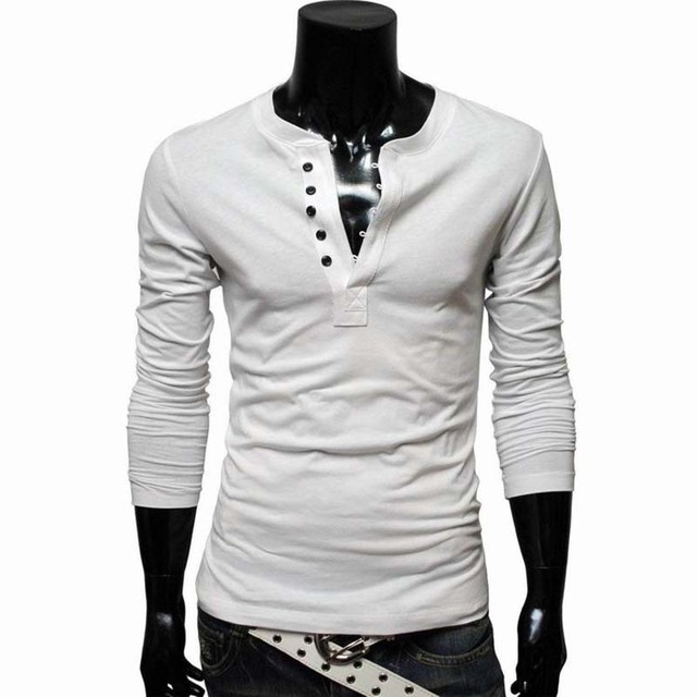 d3b3d676c833 2015 Men White T-Shirt Fashion Multiple Button V Neck Tshirt Casual Slim  Solid Color Long Sleeve T Shirts Men tee Shirt T009