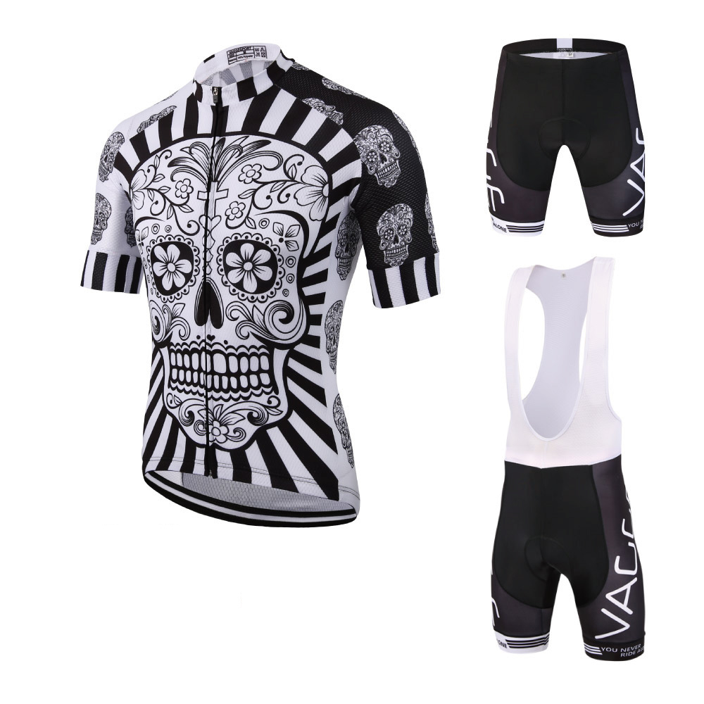2019 Skeleton Männer Radfahren Tragen Ropa Ciclismo Jersey Set Marke Uv Team Fahrrad Kleidung Kit Fitness Mountain Road Race Bike anzug