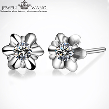 JEWELLWANG 18K White Gold Stud Earrings for Women 0.05CT Pair Moissanite Stud Earring Brilliant Fine Jewelry Girl Gift JK Color