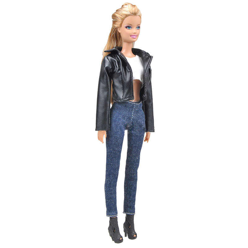 1 комплект кожаное пальто, наряды для куклы Барби, модное пальто, джинсы, штаны, короткий топ, одежда ручной работы для кукольного домика Барби, аксессуары