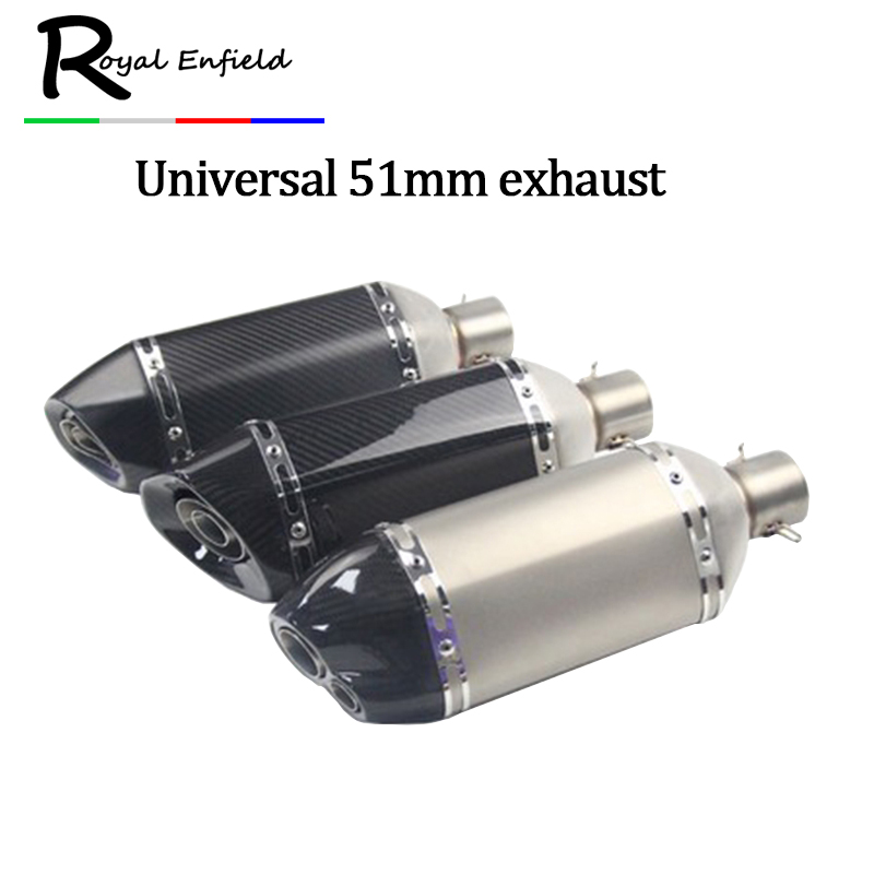 все цены на Inlet 36-51mm Universal Exhaust Muffler DB killer For 250CC 600CC Most Motorcycle for ATV Dirt Bike Sticker Carbon fiber Escape онлайн