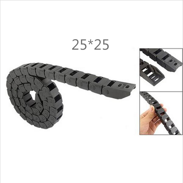 Free Shipping  1M 25*25 mm R55 Plastic Cable Drag Chain For CNC Machine,Inner diameter opening cover,PA66 best price 25 x 57 mm l1000mm cable drag chain wire carrier with end connectors for cnc router machine tools