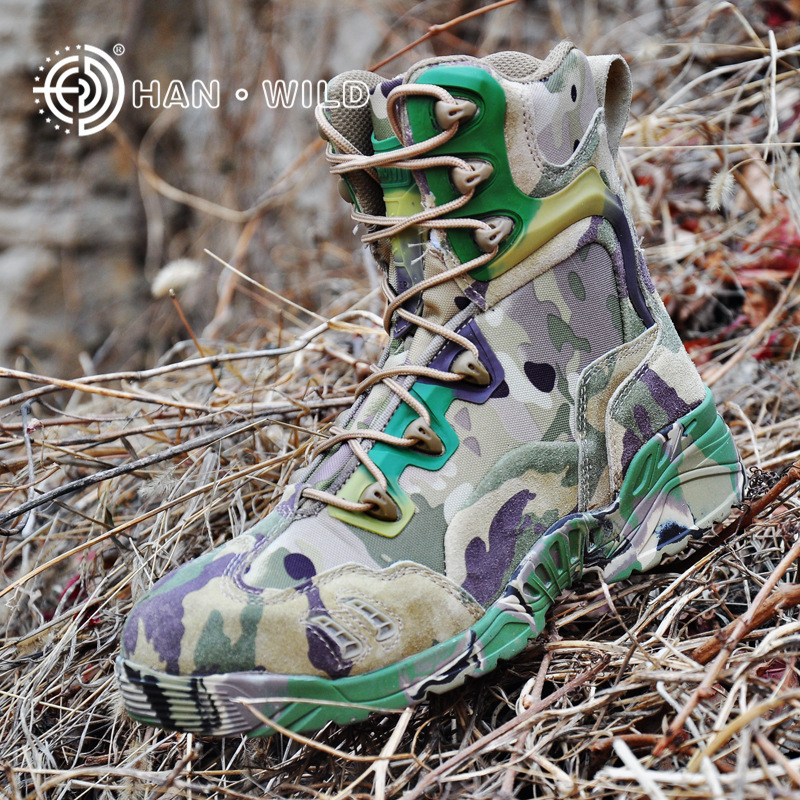 2018 Men Tactical Military Boot Winter Genuine Leather Camouflage Rubber Shoes High Top Desert Men's Combat Amry Ankle Boots men s desert military boots touch guy cow suede genuine leather ankle martin boot