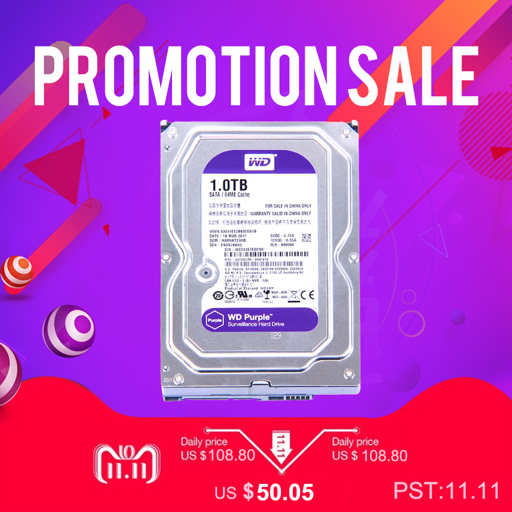 WD Purple 1TB Hard Drive Disk For Security System WD10EJRX HDD 3.5