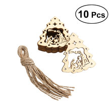 10pcs Wooden Embellishments Christmas Tree The Birth of Jesus Pattern Pendant with Hemp Ropes New Year Decoration(China)