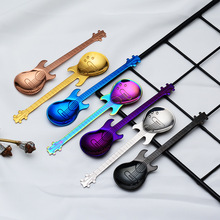 Stainless Steel Spoon Coffee Guitar Shape Music Theme Tea Stirring Small Ice Cream Dessert Scoop Creative Flatware Gifts