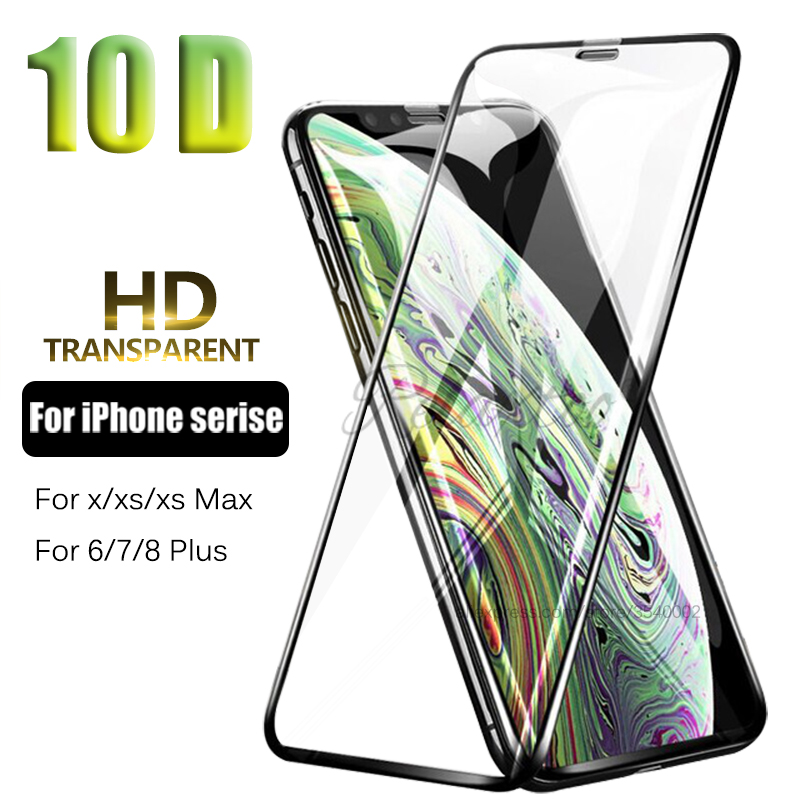 10D Full Glue Tempered Glass for iPhone X XS Max XR Screen Protector aifon 6s 6 7 8 Plus x s r xs max protetive Curved Film glas
