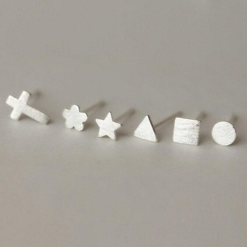 7 Styles Select 925 Sterling Silver Earrings For Women Hypoallergenic Cross Heart Small Stud Earrings Girl Jewelry Accessories