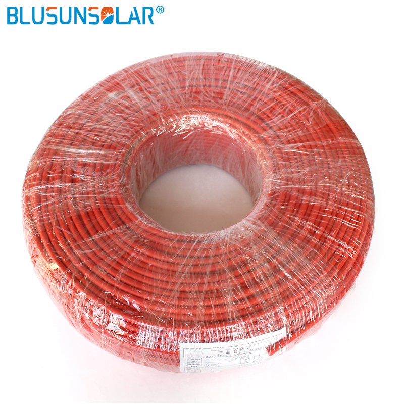 100 Meters Roll high quality 6mm2 10AWG Solar Cable Red or Black Pv Cable Wire Copper