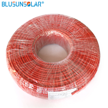 100 Meters/Roll high quality 6mm2 (10AWG) Solar Cable Red or Black Pv Cable Wire Copper Conductor XLPE Jacket TUV Certifiction