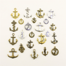 Fashion Jewelry Making Ship Anchor Circle Rope Findings Components Mix Pendant