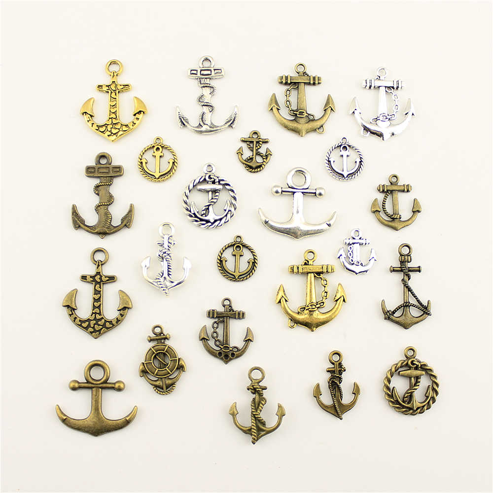 Fashion Jewelry Making Ship Anchor Circle Rope Jewelry Findings Components Mix Pendant