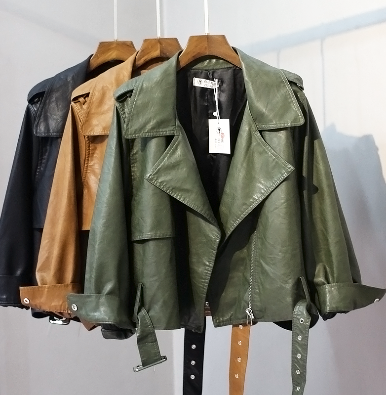 2019 Spring and Autumn New Women's Long Sleeve Turn Down Collar Motorcycle Faux   Leather   Jacket Ladies Big Size Loose Pu Coats