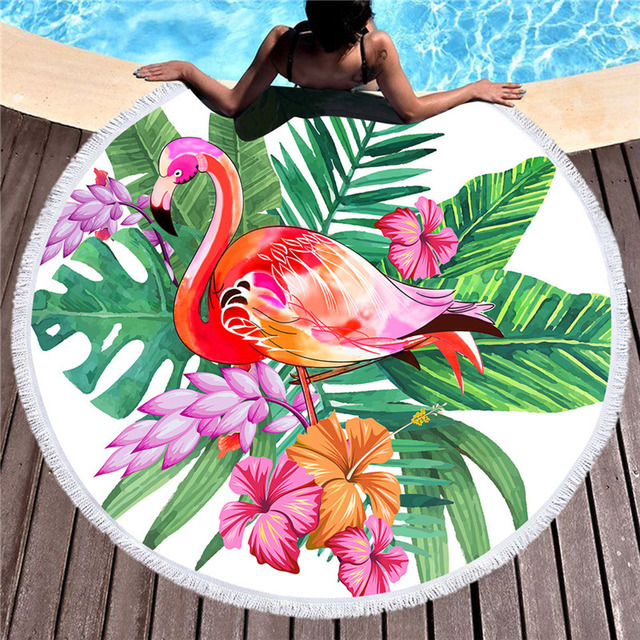 Flamingos Printed Microfiber Round Beach Towel for Adults Quick Dry Large Bath Towels Summer Swimwear Tassel Beach Cover Up Mats