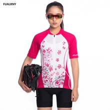 FUALRNY safflower Summer Women Cycling Jersey Sets Short Breathable Clothing Mountain Bike Clothes Sport Wear Uniforms