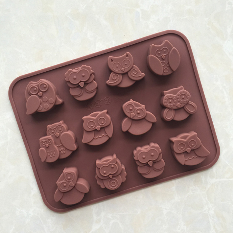 Cake Mold Soap Mold 12 Owl Flexible Silicone Mould For