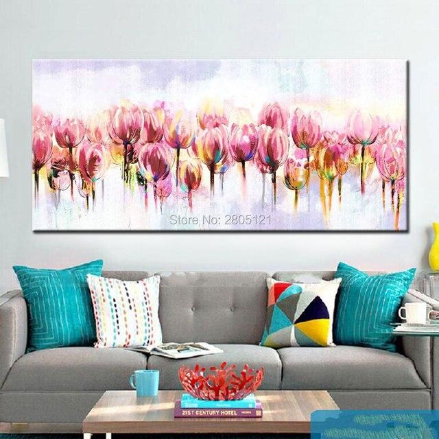 Hand bemalt abstrakten blumen ölgemälde rosa Tulpe floral leinwand ...