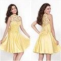 New Sexy Prom Dressses Lace apliques O pescoço curto Prom Dress moda na altura do joelho vestidos de festa