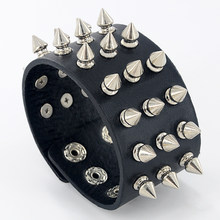 Punk Style Gothic Rock Three Row Metal Cone Stud Spikes Rivet Leather Wristband Bangle Wide Cuff Bracelet For Men Women Z-436(China)