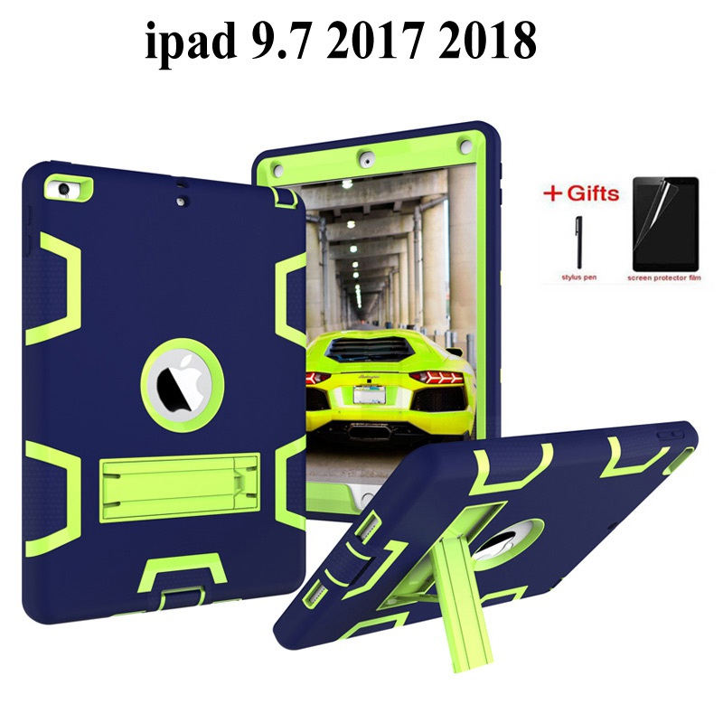 Shockproof Heavy Duty Case For iPad 9.7 2018 6th Generation with Kids Safe Silicon PC Back cover For ipad 9.7 2017 case+gifts