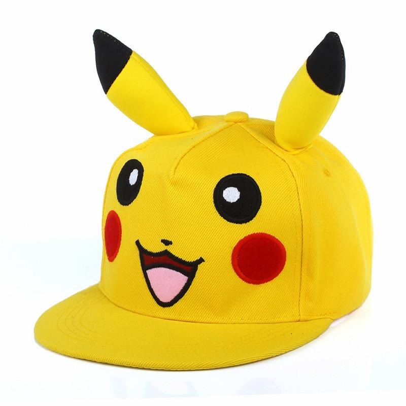Japanese Cartoon Animation Cute Lovely Pikachu Pokemon Flat IR Snapback hats &   Caps   dad Hat for Men Women   baseball     cap   boy bone