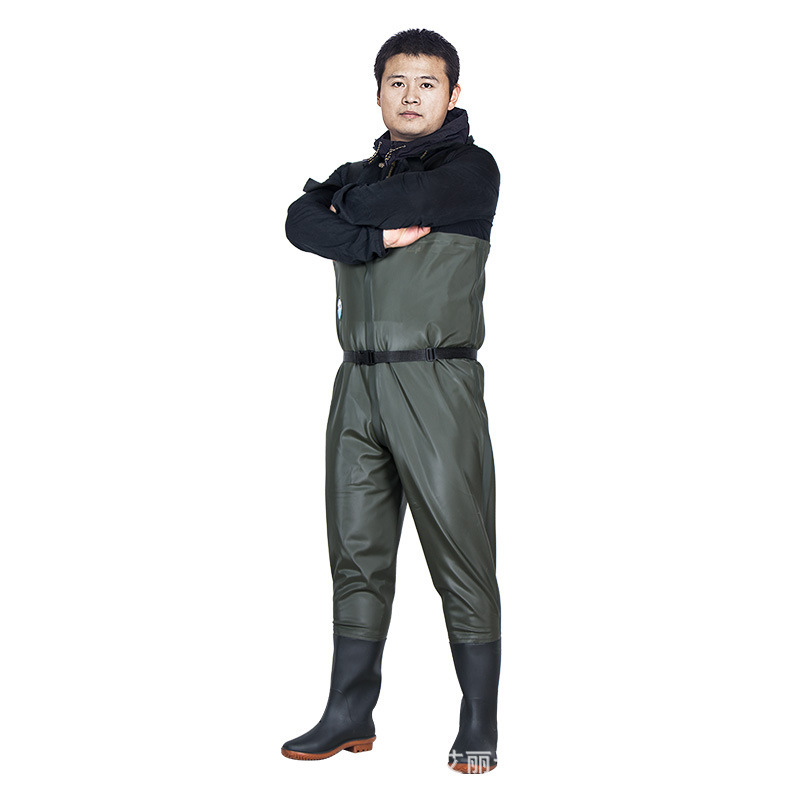 Outdoor Camping Fishing Eu38 46 PVC Pants Wear resisting Acid Alkali Overalls Wader Shoes Bottoms Non