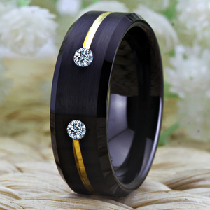Image 2 - Tungsten Wedding Band Engagement Rings For Women Classic Mens Black Tungsten Ring Golden Groove CZ inlay Anniversary Gift Ring