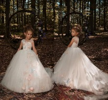 Cute 3D Butterfly Floral Flower Girl Dresses ball gown  Tulle Long Little Girls Gown