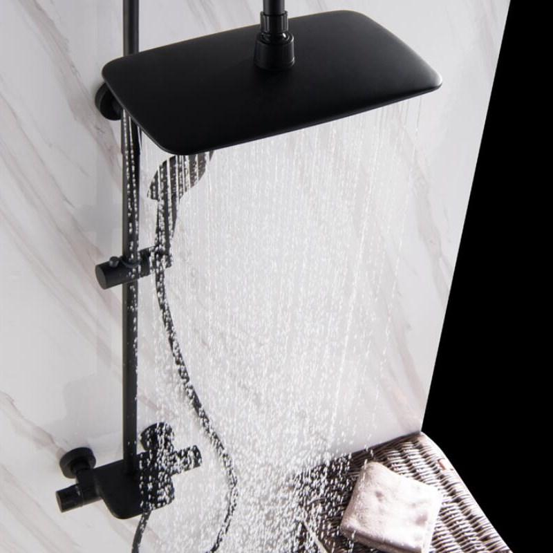 Ensemble de robinet de bain et de douche thermostatique brossé à l'huile noire pour salle de bain - 4