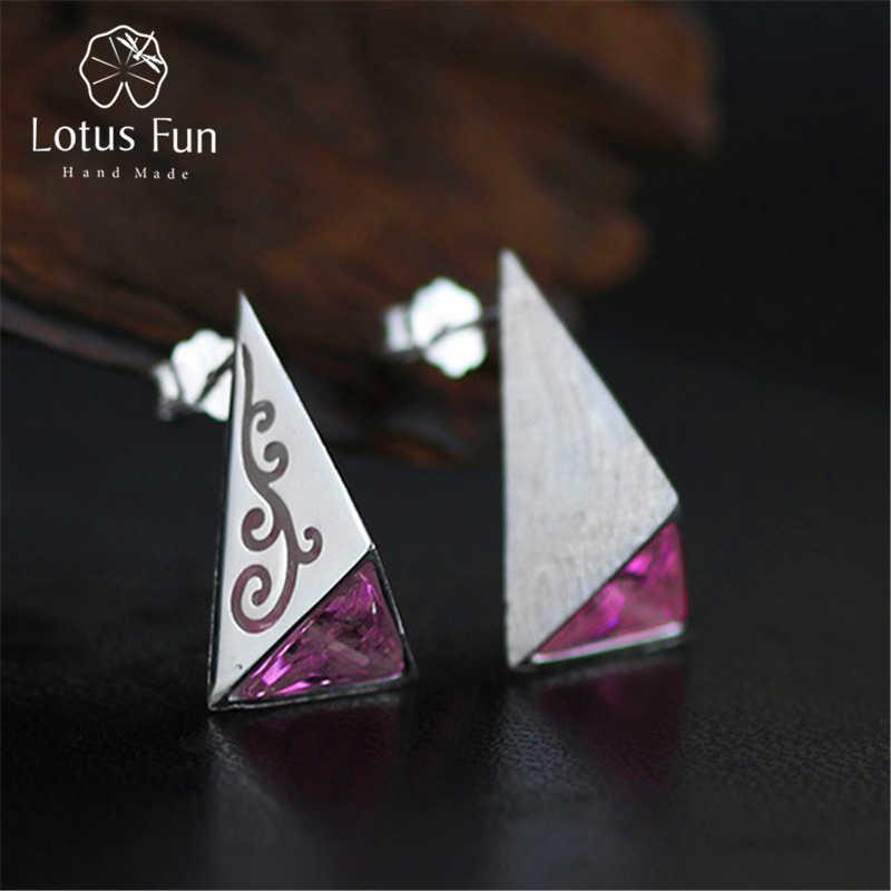 Design 5 925 Sterling Silver Pyramid Stud Earrings