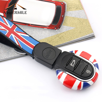 For Mini Cooper Clubman F54 F55 F56 Accessories Union Jack ABS Car Remote Key Shell Key Case Key Cover Key Chain FOB Car-styling