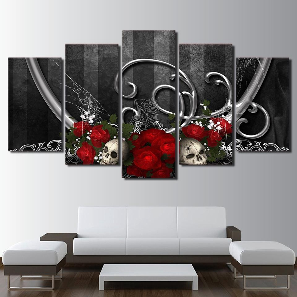 5pcs Red Rose And Skull Vintage Home