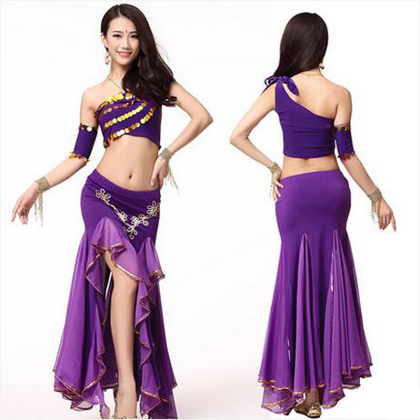 e25475ea1ca0 NEW! crystal cotton and chiffon belly dance suit single sleeves top+ ...
