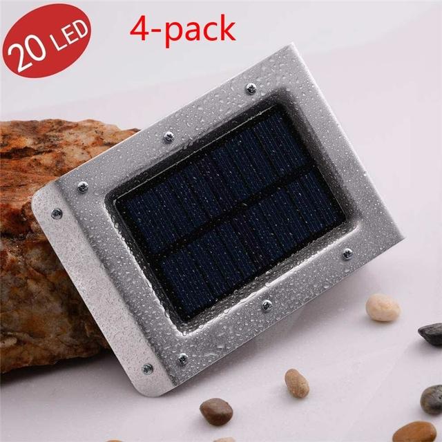 New LederTEK 4-Pack 20 LED 2nd Generation Outdoor Wireless Solar Powered PIR Motion Sensor Light/ Wall lights/ Security Lights