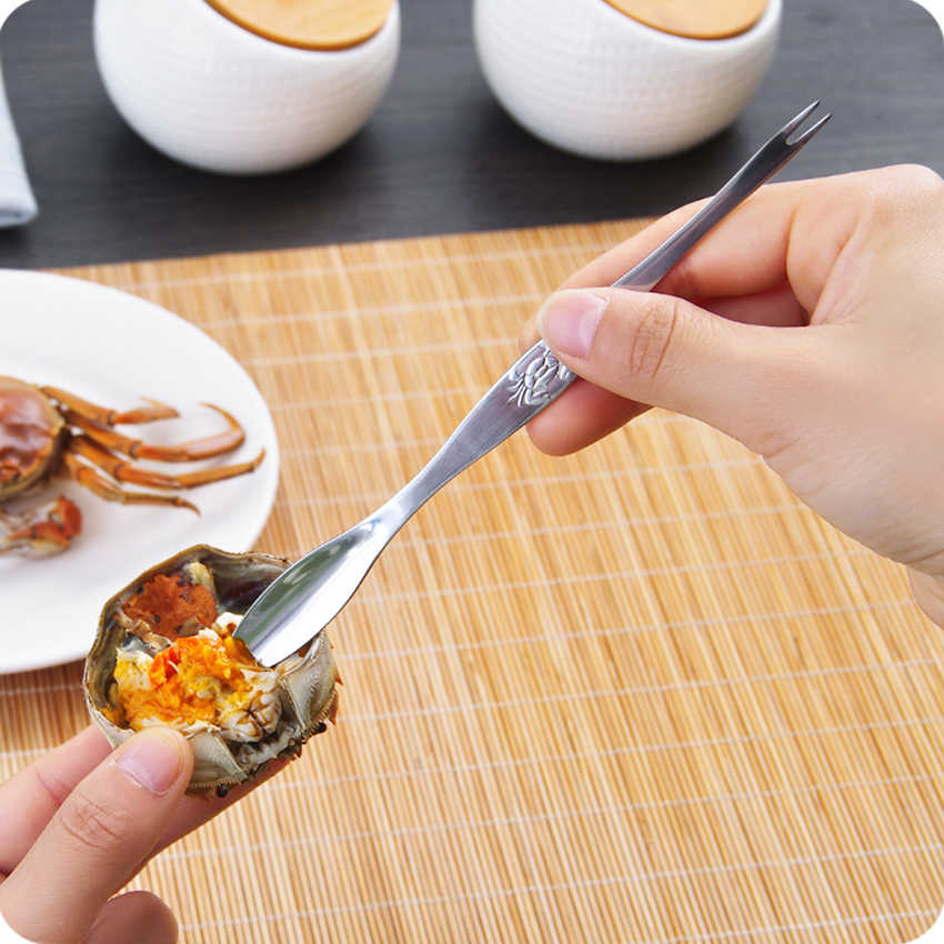 1 ชิ้นสแตนเลส Crab ช้อน Gadgets ครัวกุ้งก้ามกรามกุ้งหอยอาหารทะเลผลไม้ส้อมวอลนัท Nutcracker เข็ม