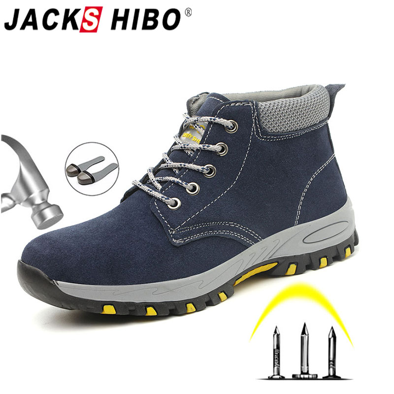 JACKSHIBO Men Boots Work Construction Steel Toe Cap Safety Shoes For Male Anti-smashing Piercing Work Shoes Indestructible Shoes