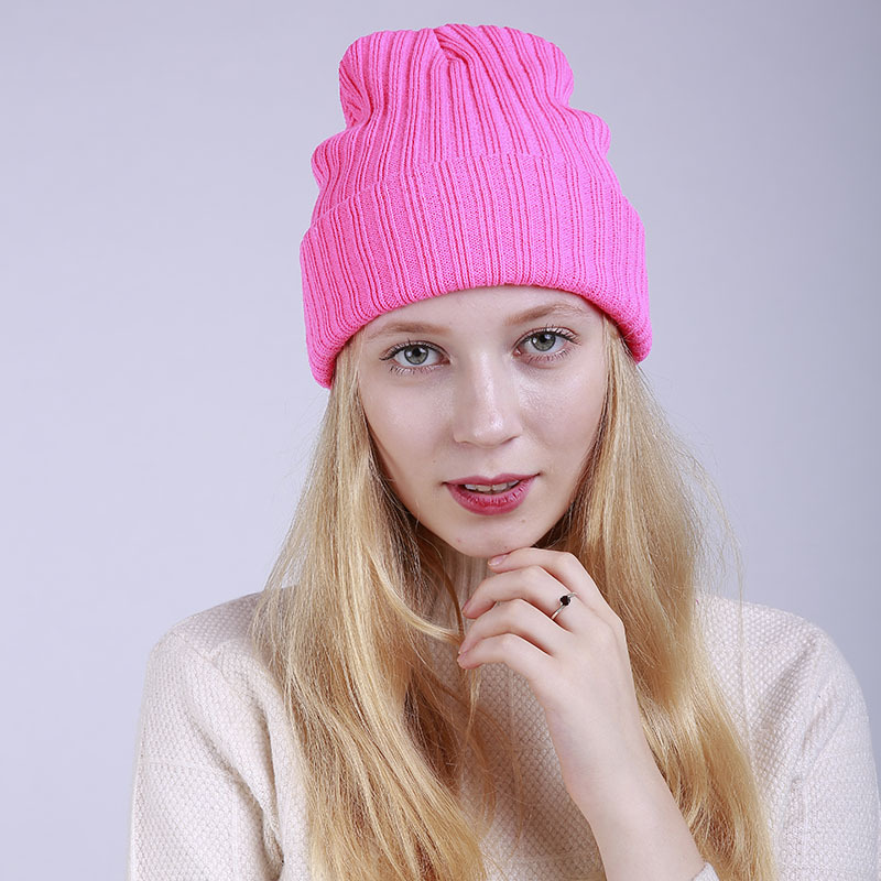 LEDINGSEN Winter Warmer Hat Ladies Pink Knitted   Skullies     Beanies   Thanksgiving 2018 Autumn Hats Orange Candy Color Women