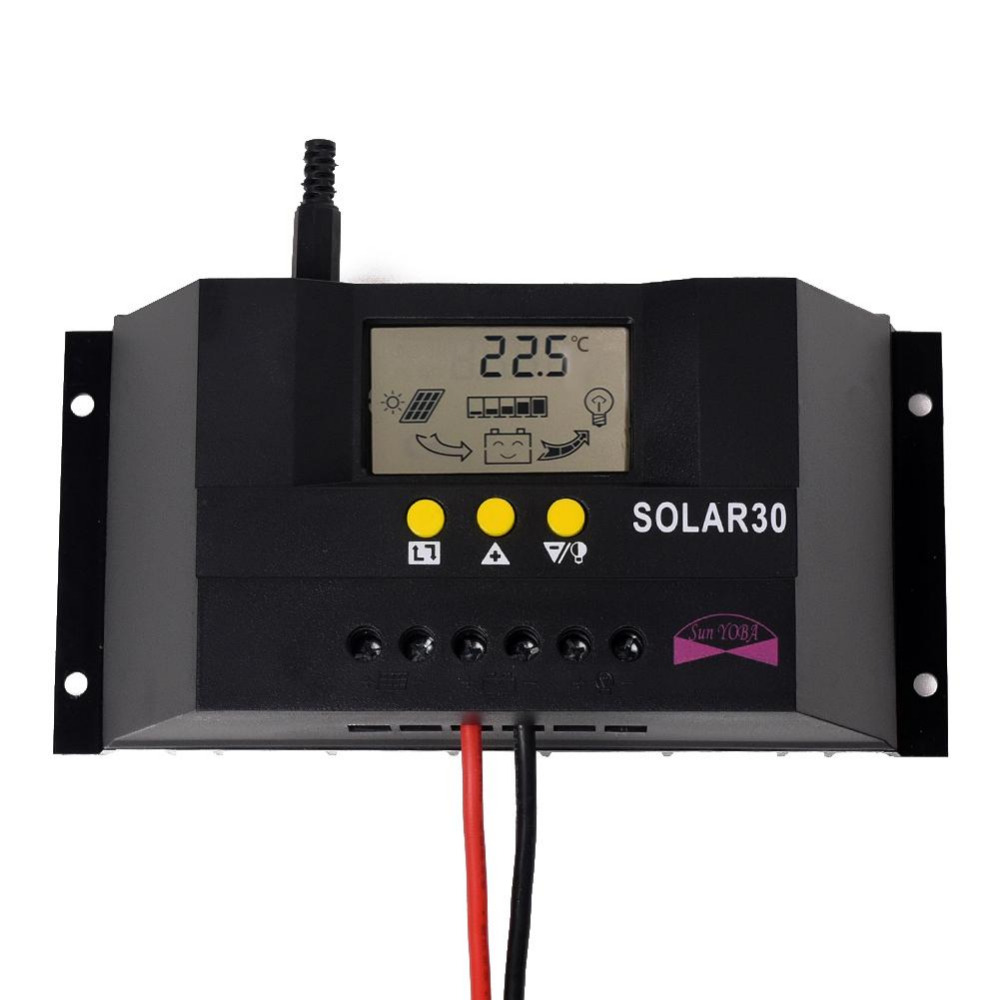 PWM 30A 12V/24V Solar Charge Controller Regulator Fot Solar Battery Panel Safe Protection With CE Certify 20a pwm duo battery solar panel charge controller regulator 12v 24v auto dual battery solar controller