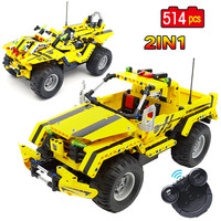 2.4G 2 In 1 Transformable Race RC Car Building Block Set Legoingly Technic City Electric Remote Control Pickup Truck kids Toys