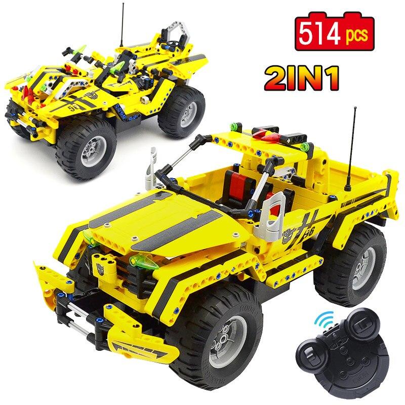 2.4G 2 en 1 Transformable course RC jeu de blocs de construction de voiture avec une technologie de pointe ville électrique télécommande pick-up jouets pour enfants