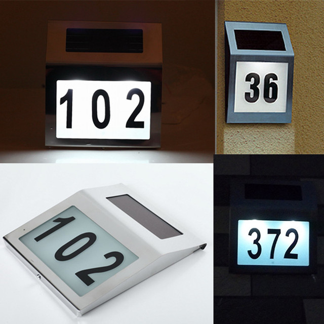LED Solar Doorplate Lamp Gateway Night Light Stainless Steel Outdoor House Number  Apartment Number Light Luz