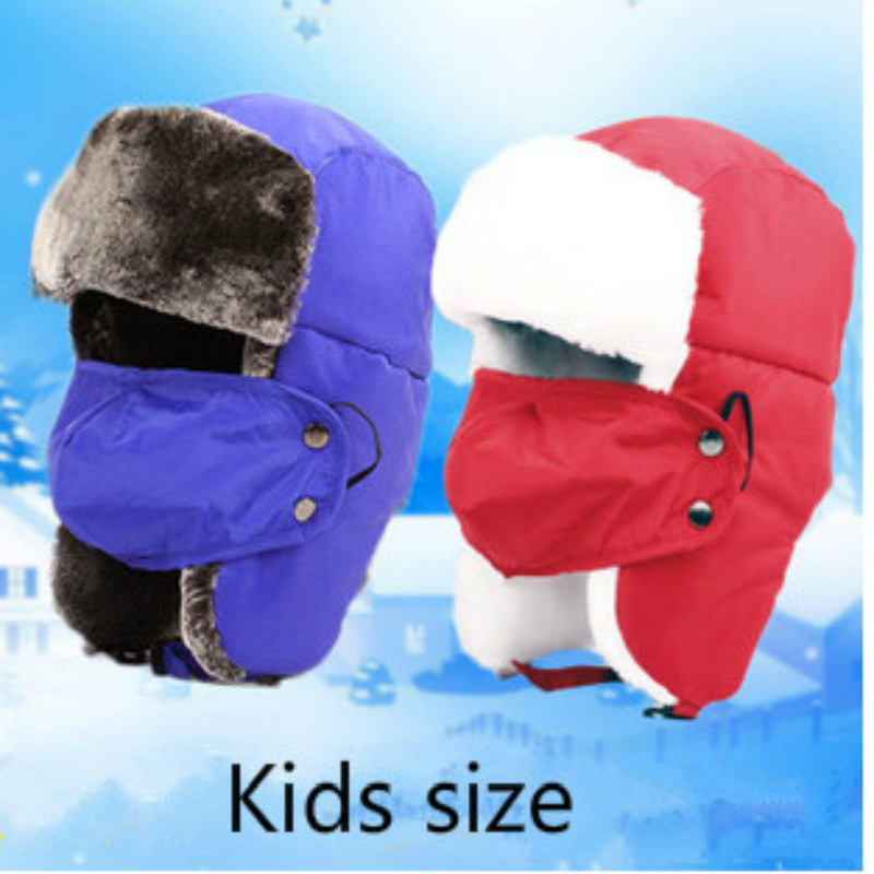 which in shower children winter bomber hat with mask warm faux fur Russian hat kids boy girl trapper pilot cap face neck cover