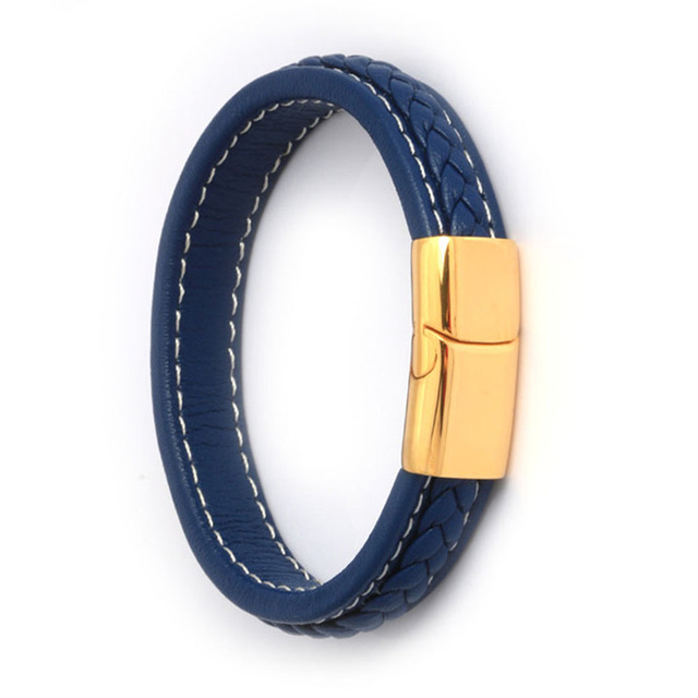 Blue Mens Leather Bracelet Gold Anium Stainless Steel Men Bangle Jewelry Vintage Gift