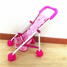 Foldable Baby Carriage Doll Trolley Stroller Trolley Nursery Furniture Toys For Doll Girls Birthday Gift(China)