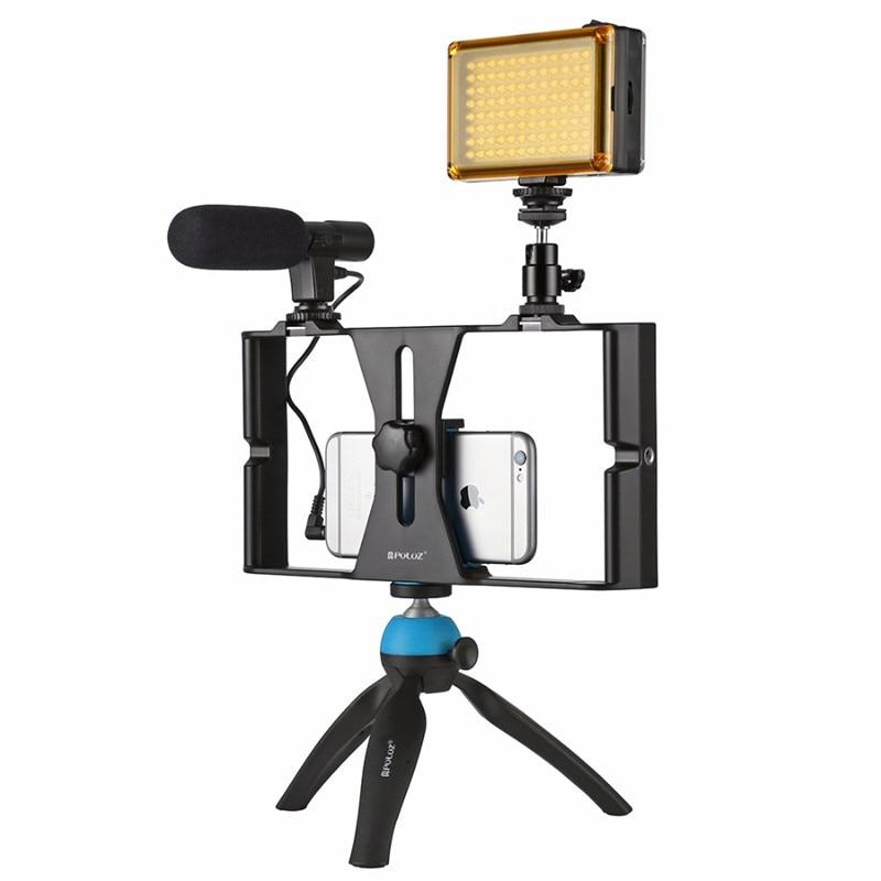 Mobile Phone Video Rig + LED Studio Light + Video Microphone + Mini Tripod Mount Kits with Cold Shoe Tripod Head